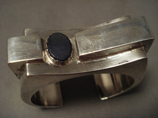 Absolutely Incredible Advanced Native American Jewelry Silver Work Lapis Native American Jewelry Silver Bracelet