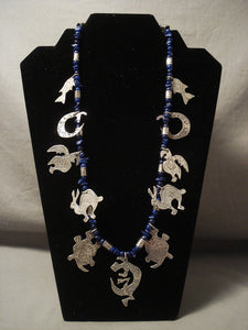 Absolutely Incredible Advanced Native American Jewelry Silver Work Vintage Navajo Lapis Necklace-Nativo Arts