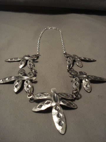 Absolutely Incredible Navajo Native American Jewelry Silver Dragonfly Necklace-Nativo Arts