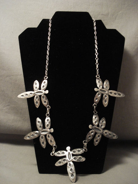 Absolutely Incredible Navajo Native American Jewelry Silver Dragonfly Necklace