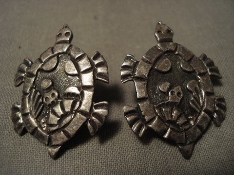 Absolutely Incredible Navajo Native American Jewelry Silver Turtle Earrings-Nativo Arts