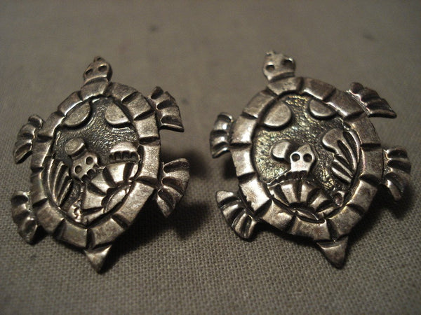 Absolutely Incredible Navajo Native American Jewelry Silver Turtle Earrings