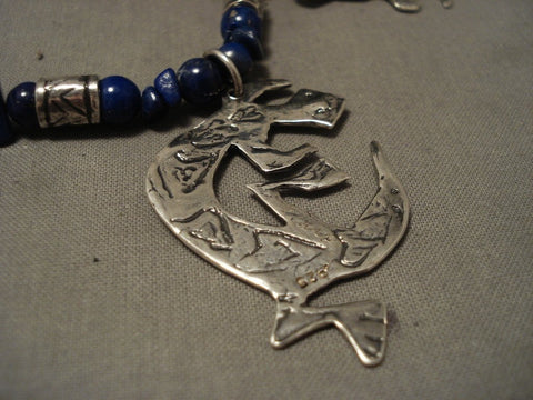 Absolutely Incredible Vintage Navajo 'Animal Kingdom' Lapis Native American Jewelry Silver Necklace-Nativo Arts