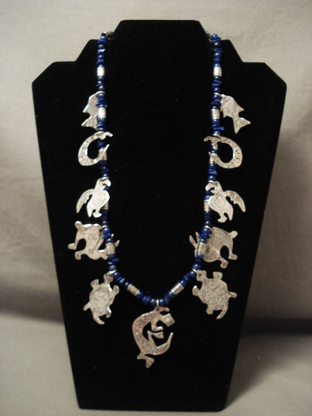 Absolutely Incredible Vintage Navajo 'Animal Kingdom' Lapis Native American Jewelry Silver Necklace