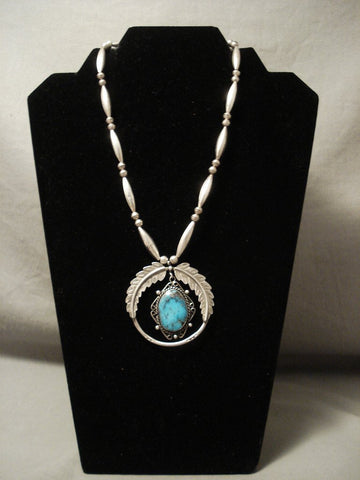 Absolutely Incredible Vintage Navajo 'Last Chance Turquoise' Native American Jewelry Silver Necklace-Nativo Arts