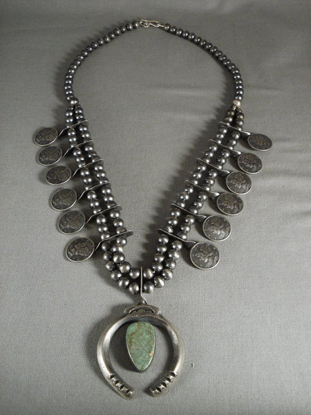 Absolutely Incredible Vintage Navajo Native American Jewelry Silver Coin Royston Squash Blossom Necklace
