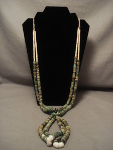 Absolutely Incredible Vintage Santo Domingo Green Turquoise Necklace Old 250 Grm-Nativo Arts