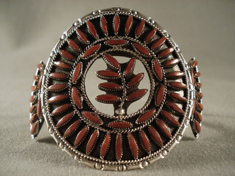 Absolutely Incredible Vintage Zuni Coral Native American Jewelry Silver Bracelet-Nativo Arts