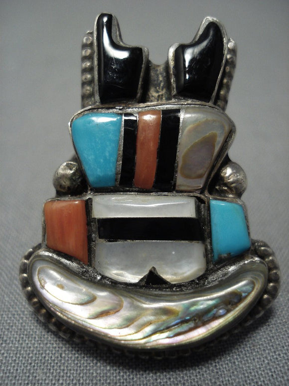 Absolutely Incredible Vintage Zuni Turquoise Coral Sterling Silver Ring-Nativo Arts