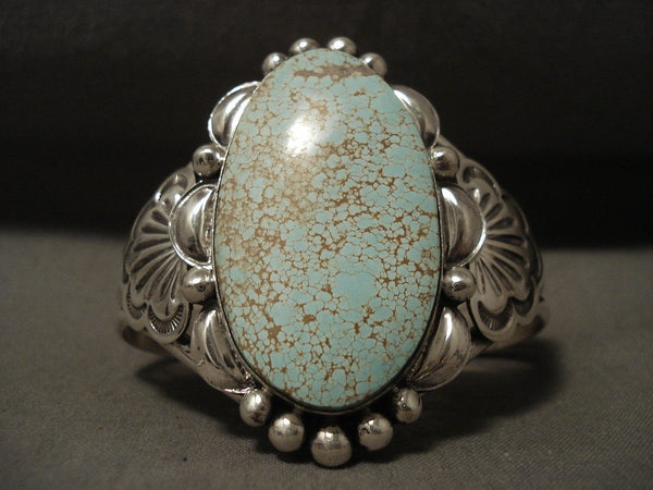 Absolutely Marvelous And Rare Natural #8 Turquoise Sterling Native American Jewelry Silver Bracelet