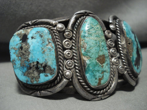 Absolutely Opulent Vintage Navajo Turquoise Native American Jewelry Silver Bracelet-Nativo Arts