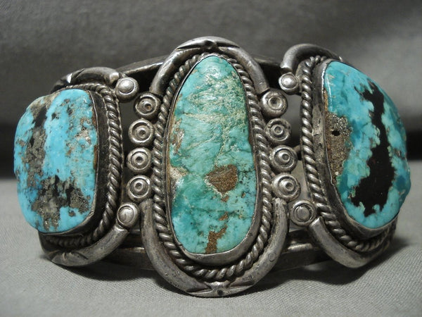 Absolutely Opulent Vintage Navajo Turquoise Native American Jewelry Silver Bracelet