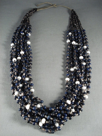Absolutely Stunning Modernistic Lapis Navajo Native American Jewelry jewelry Pearl Necklace-Nativo Arts