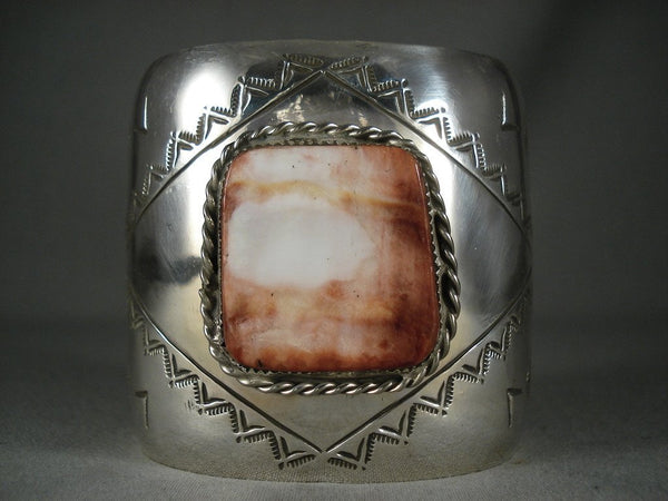Absolutely Stunning Modernistic Navajo Native American Jewelry Silver Shell Bracelet