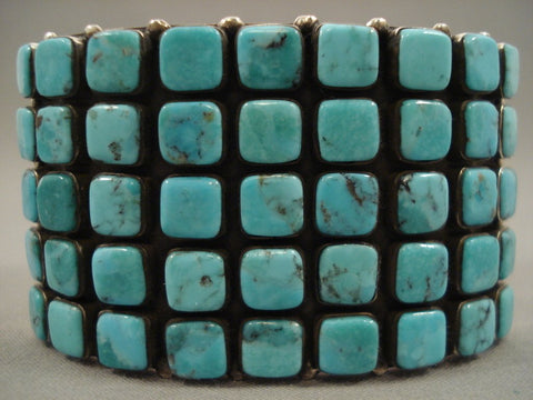 Absolutely Stunning Navajo Squared Blue Diamond Turquoise Native American Jewelry Silver Bracelet-Nativo Arts