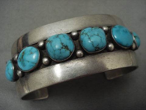Absolutely Stunning Vintage Navajo Blue Carico Lake Turquoise Native American Jewelry Silver Bracelet-Nativo Arts