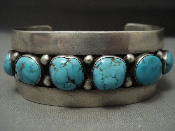 Absolutely Stunning Vintage Navajo Blue Carico Lake Turquoise Native American Jewelry Silver Bracelet
