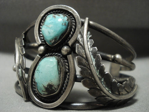 Absolutely Stunning Vintage Navajo 'Mirrored Leaf' Native American Jewelry Silver Turquoise Bracelet-Nativo Arts