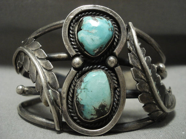 Absolutely Stunning Vintage Navajo 'Mirrored Leaf' Native American Jewelry Silver Turquoise Bracelet
