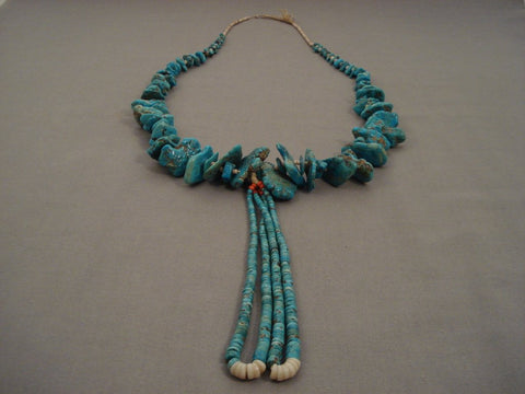 Absolutely Stunning Vintage Navajo Native American Jewelry jewelry Turquoise Nugget Heishi Necklace Old-Nativo Arts
