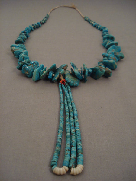 Absolutely Stunning Vintage Navajo Native American Jewelry jewelry Turquoise Nugget Heishi Necklace Old