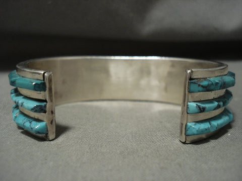 Absolutely Stunning Vintage Navajo 'Turquoise Inolay Row' Heavy Native American Jewelry Silver Bracelet-Nativo Arts