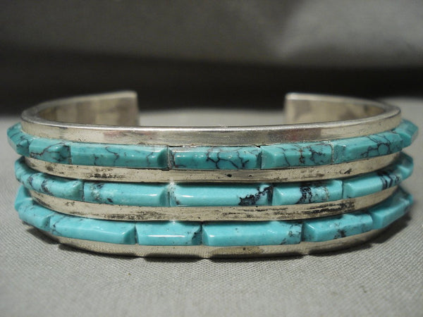 Absolutely Stunning Vintage Navajo 'Turquoise Inolay Row' Heavy Native American Jewelry Silver Bracelet