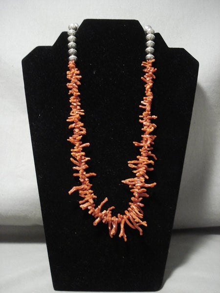Absolutely Stunning Vintage Santo Domingo/navajo Coral Huge Native American Jewelry Silver Bead Necklace