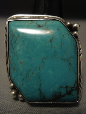 Absolutely Stupendous Vintage Navajo 'Big Green' Turquoise Native American Jewelry Silver Ring-Nativo Arts