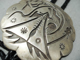 Very Important Heavy Authentic Vintage Native American Navajo Sterling Silver Teepee Bolo Tie