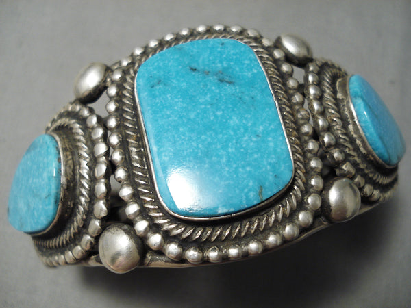 Best Native American Navajo Rick Martinez Carico Lake Turquoise Sterling Silver Bracelet Cuff