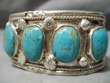 Magnificent Vintage Native American Navajo #8 Turquoise Sterling Silver Bracelet Cuff Old