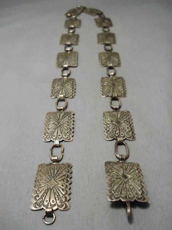 Superior Vintage Native American Navajo Sterling Silver All Silver Concho Belt Old