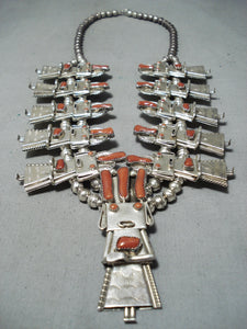 Detailed Vintage Native American Navajo Coral Kachina Sterling Silver Squash Blossom Necklace
