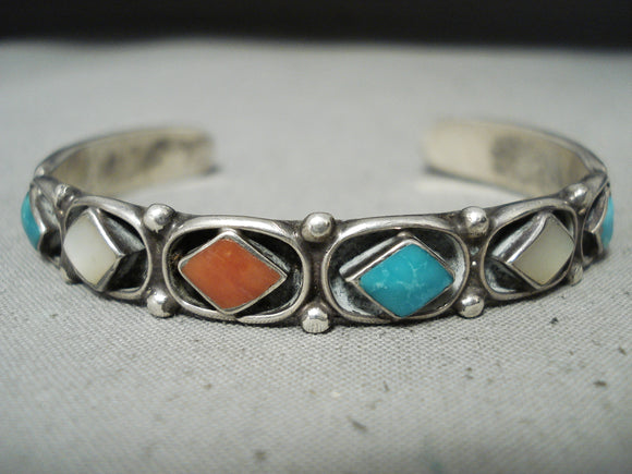 Striking Vintage Native American Zuni Turquoise Mother Of Pearl Coral Sterling Silver Bracelet
