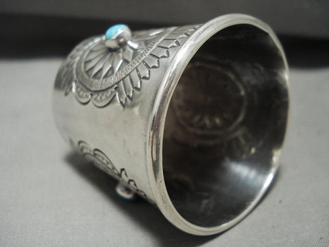 Actual Functioning Vintage Navajo Sterling Native American Jewelry Silver Turquoise Shot Glass!-Nativo Arts