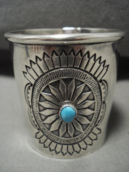 Actual Functioning Vintage Navajo Sterling Native American Jewelry Silver Turquoise Shot Glass!