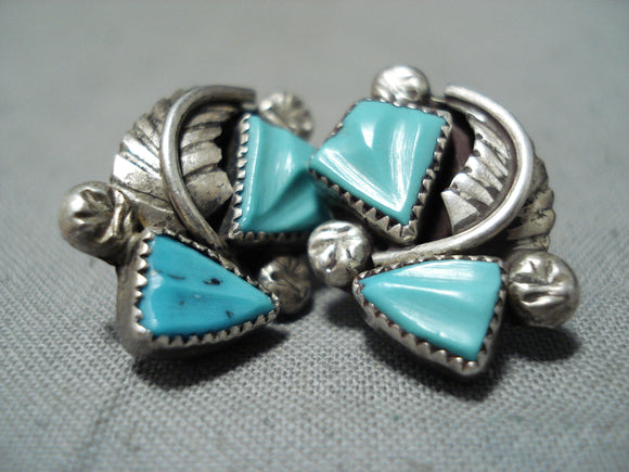 Fabulous Vintage Native American Zuni Handcarved Blue Gem Turquoise Sterling Silver Earrings