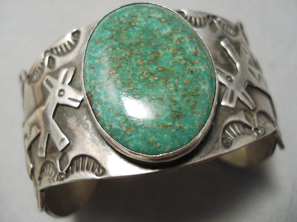 Important Vintage Native American Navajo Yellowhorse Royston Turquoise Sterling Silver Bracelet