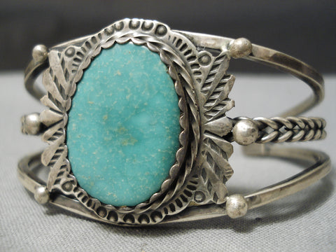 Incredible Vintage Native American Navajo Royston Turquoise Sterling Silver Bracelet Old
