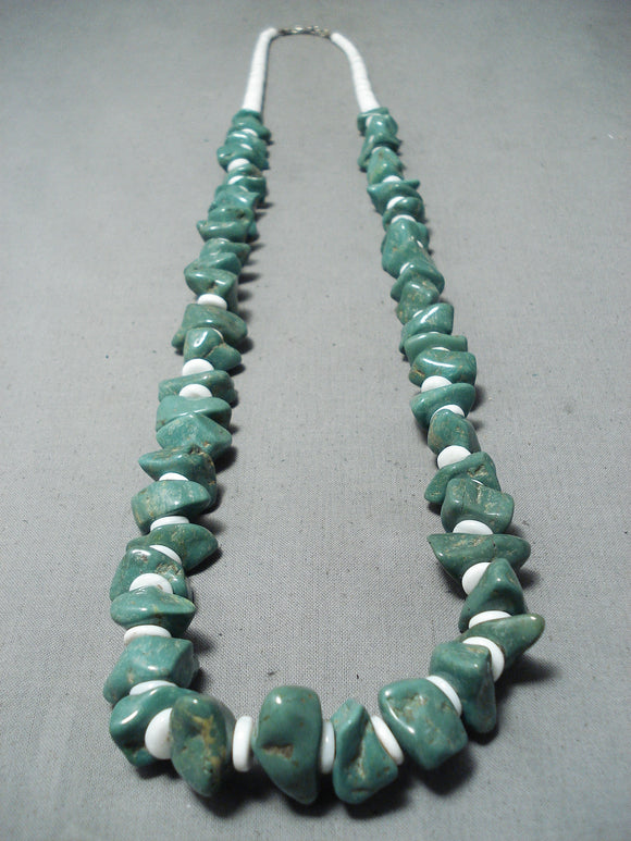 Huge Chunks Of Royston Turquoise Vintage Native American Navajo Sterling Silver Necklace Old
