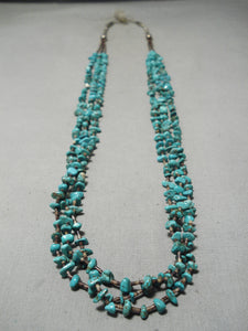 Magnificent Vintage Native American Navajo Turquoise Sterling Silver Necklace
