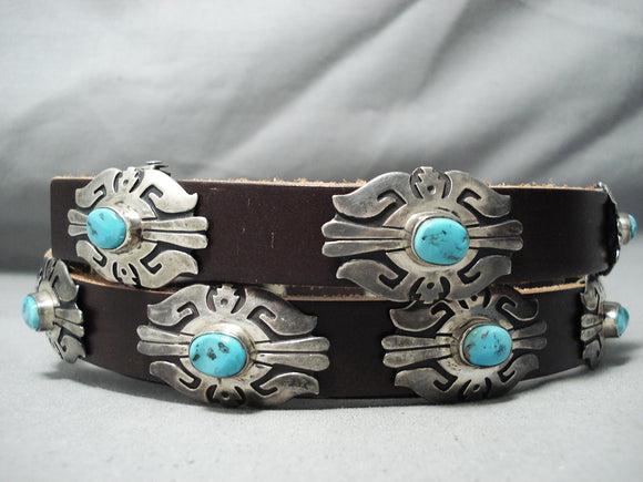 Authentic Vintage Native American Navajo Thomas Singer Turquoise Sterling Silver Concho Belt
