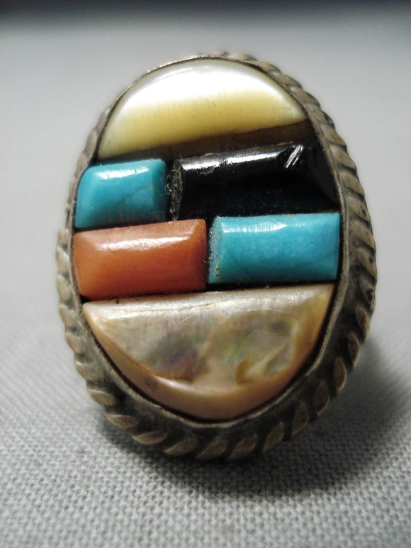 Marvelous Vintage Native American Navajo Turquoise Sterling Silver Ring Old