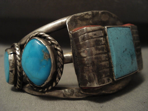 Advanced Coral Native American Jewelry Silver Works Vintage Navajo 'Squared Turquoise' Native American Jewelry Silver Bracelet-Nativo Arts
