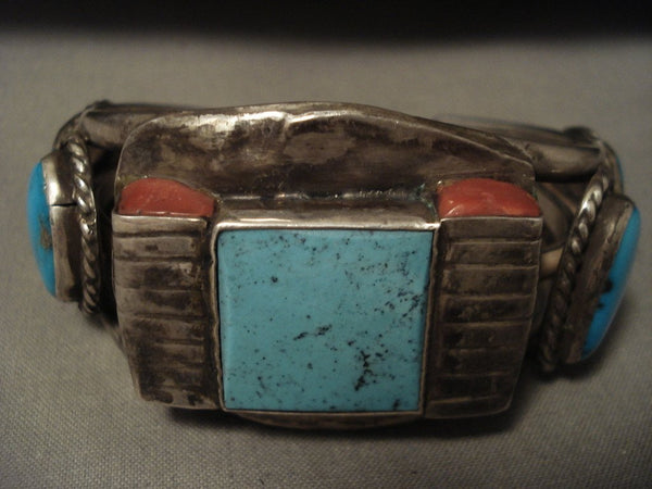 Advanced Coral Native American Jewelry Silver Works Vintage Navajo 'Squared Turquoise' Native American Jewelry Silver Bracelet