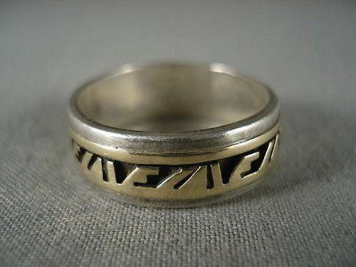ADVANCED GOLD WORK VINTAGE NAVAJO SILVER THICK RING OLD