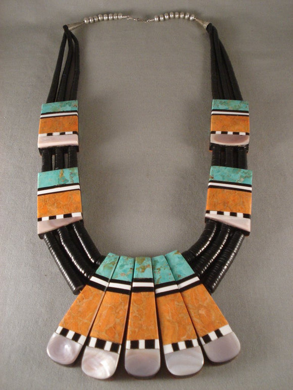 Advanced Inlay Huge Vintage Santo Domingo Turquoise Coral Necklace-Nativo Arts