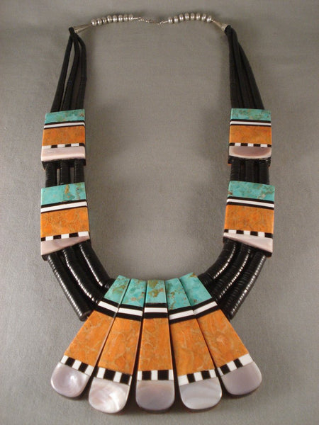 Advanced Inlay Huge Vintage Santo Domingo Turquoise Coral Necklace