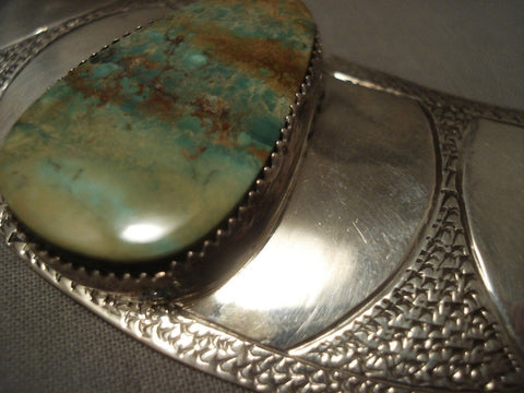 Advanced Innovative Vintage Navajo Kee Joe Benally (d.) Turquoise Native American Jewelry Silver Collar-Nativo Arts